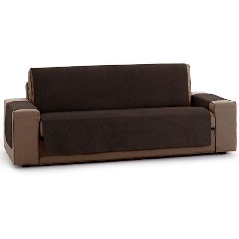 Protector Funda Sofa. Cubresofa. Chenilla Lisa. Diseño Elite. Color Marron. 3 Plazas