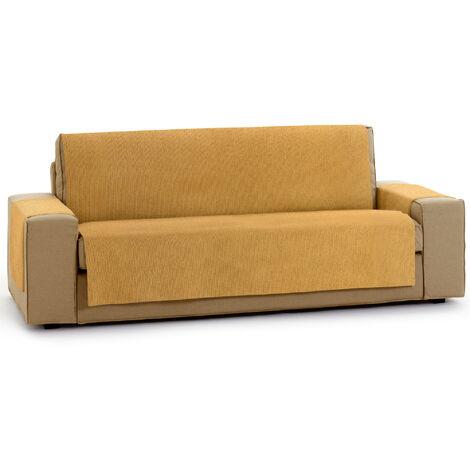 Protector Funda Sofa. Cubresofa. Chenilla Lisa. Diseño Elite. Color Ocre. 2 Plazas