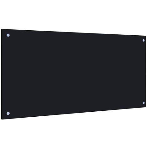 Protector salpicaduras cocina vidrio templado negro 100x50 cm