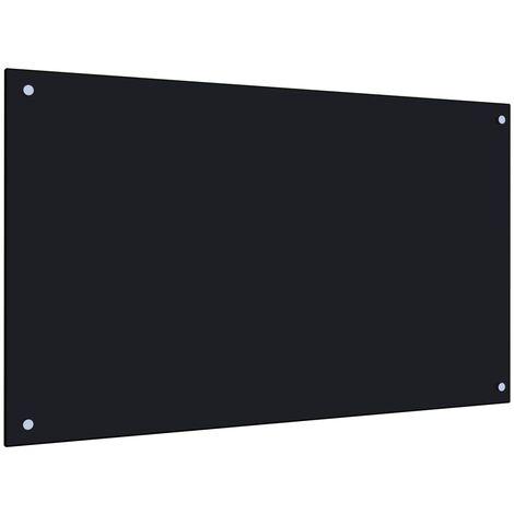 Protector salpicaduras cocina vidrio templado negro 100x60 cm