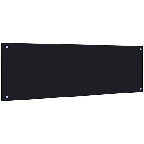 Protector salpicaduras cocina vidrio templado negro 120x40 cm