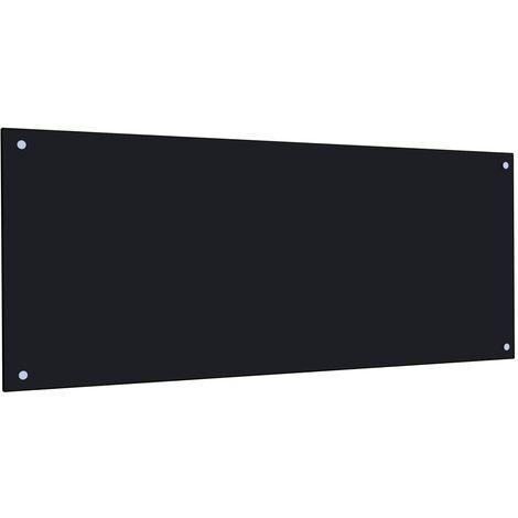 Protector salpicaduras cocina vidrio templado negro 120x50 cm
