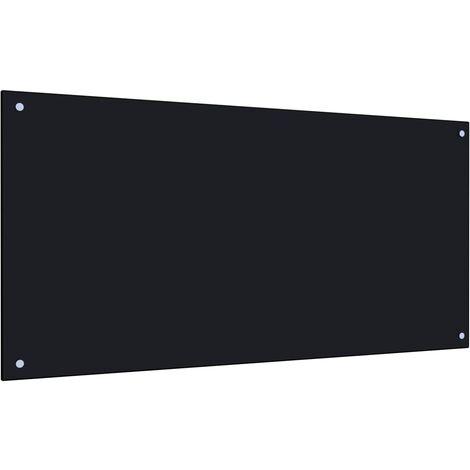Protector salpicaduras cocina vidrio templado negro 120x60 cm