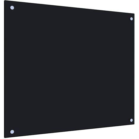 Protector salpicaduras cocina vidrio templado negro 70x60 cm