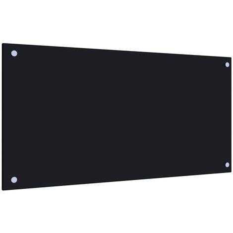 Protector salpicaduras cocina vidrio templado negro 80x40 cm