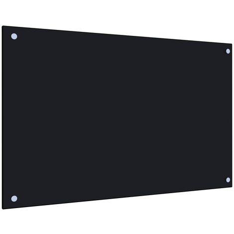 Protector salpicaduras cocina vidrio templado negro 80x50 cm