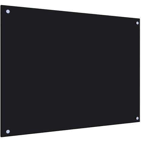 Protector salpicaduras cocina vidrio templado negro 80x60 cm