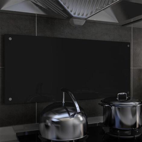 Protector salpicaduras cocina vidrio templado negro 90x40 cm
