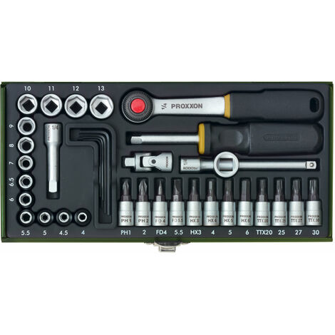 Proxxon Serie per meccanica di precisione con cricco da 1/4'', 36-pezzi
