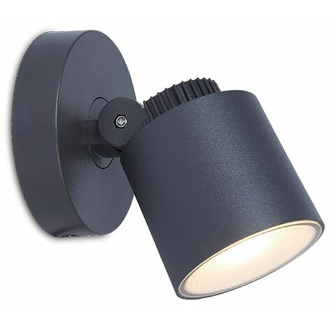 Proyector de lámpara de punto de pared para exteriores LED, iluminación de aluminio fundido móvil, terraza de jardín