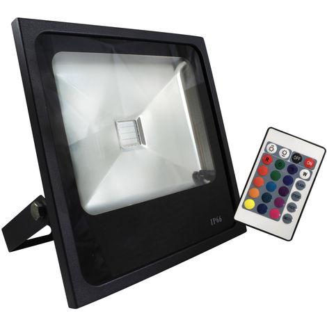 Proyector exterior Led RGB de aluminio con mando 30W RGB (Electro Dh 81.762/30/RGB)