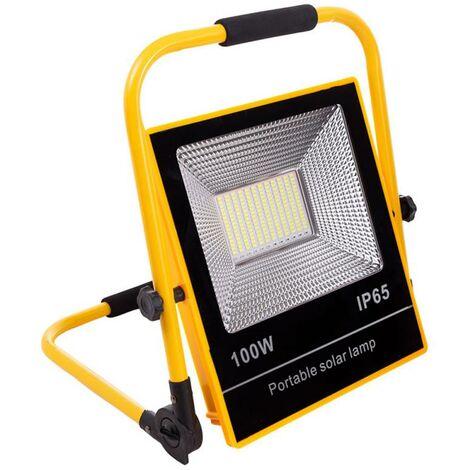 Proyector LED, 100W solar/con batería recargable, blanco + flash emergencia rojo y azul, Blanco frío