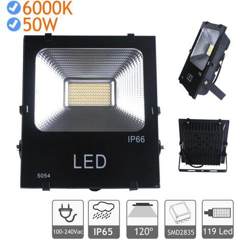 Proyector LED 50W luz blanca fría 6000K exterior negro