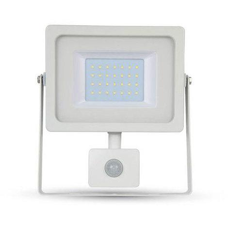 Proyector Led Blanco PIR Sensor Series IP44 30W V-TAC VT-4933 W PIR 2550LM