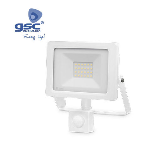 Proyector LED con sensor 20W 6000K IP65 Blanco