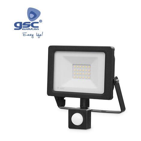 Proyector LED con sensor 20W 6000K IP65 Negro