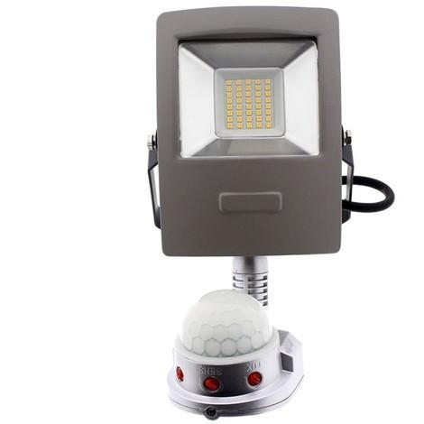 Proyector LED exterior con sensor de movimiento (10W) (luz cálida)