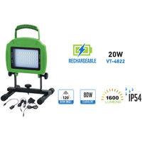 Proyector LED IP54 Recargable 20W V-TAC VT-4822 1600lm Luz Natural 4500K
