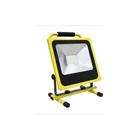 PROYECTOR LED RECARGABLE AMARILLO C/SOPORTE SUELO 30W 6000K