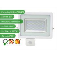 Proyector led sensor 50W Slim SMD5730 blanco 6000ºK exterior IP65