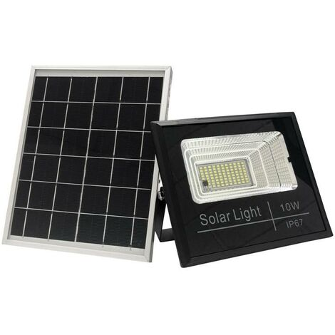 Proyector LED solar 10W con mando | Blanco frío 6000K