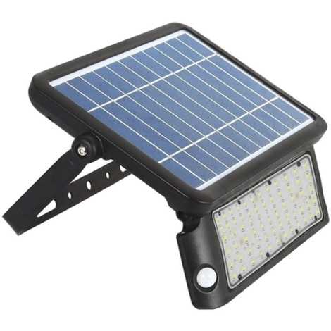 Proyector LED SOLAR 10W, negro con sensor de movimiento y luminosidad, Tono Neutro, Regulable