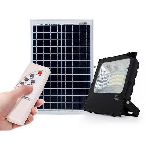 Proyector LED Solar 20W Sensor + Control Remoto Panel 6V/8W 3,7V/6000mAH 350x190x17mm [PLMP-626002-CW] | Blanco Frío (PL-626002-CW)