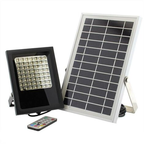 Proyector LED SOLAR 5W, RGB+W, RGB + Blanco neutro, regulable