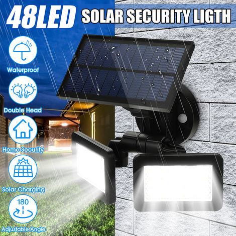 Proyectores con sensor de movimiento solar de doble cabezal 48Led, luces de seguridad giratorias e impermeables de 180 ¡ã de 3 modos para la pared exterior del jardín Hasaki
