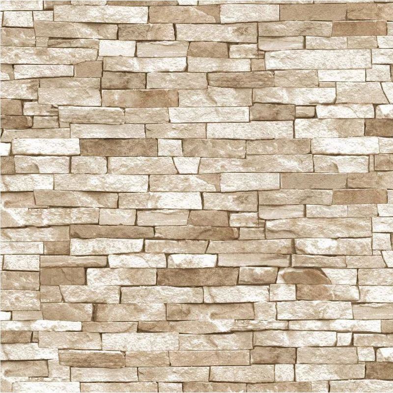 P&S Textured Brick Effect Wallpaper Beige Shading ...