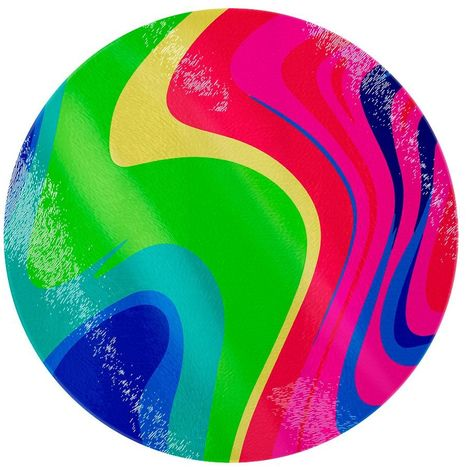 Psychedelic Wave Circular Glass Chopping Board (One Size) (Multicoloured)