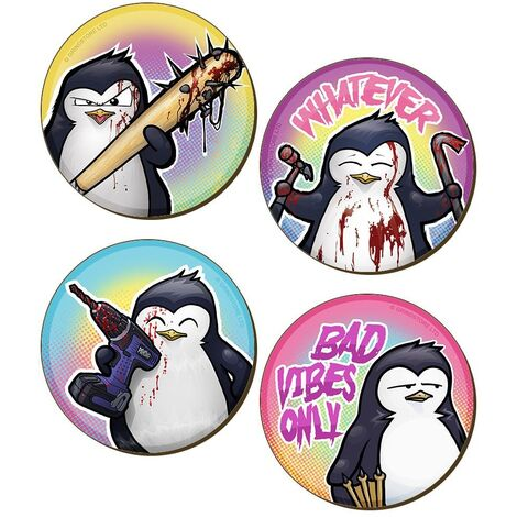 Psycho Penguin Bad Vibes Only Coaster Set (Pack of 4) (One Size) (Multicoloured)