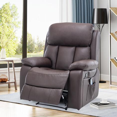 PU Leather Heated Massage Sofa Recliner Armchair