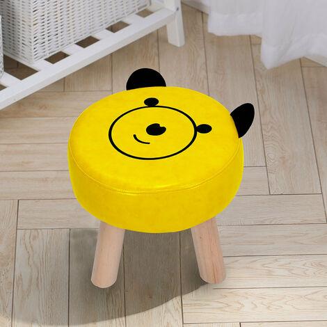 PU Leather Padded Footstool Footrest Cartoon Pattern Round Pouffe Children Seat