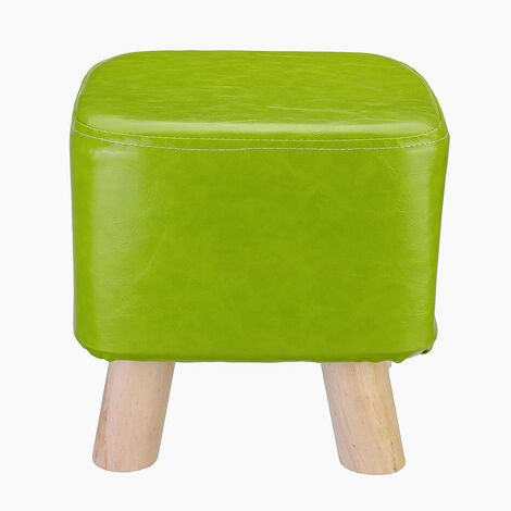 PU Leather Portable Ottoman Modern Footrest Wood Footstool Square Seat