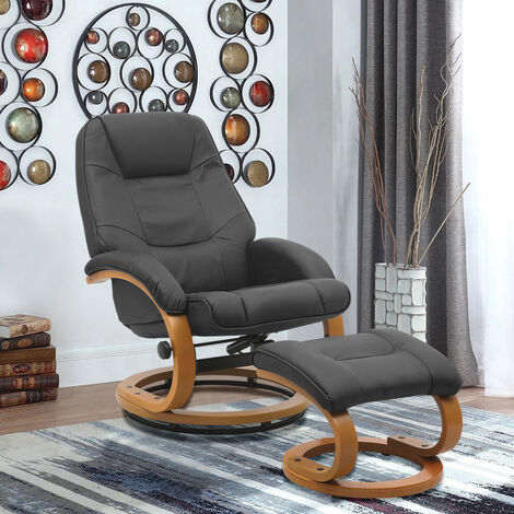 PU Leather Recliner Office Armchair with Footstool
