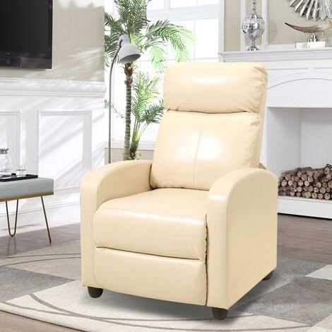 PU Leather Recliner Sofa Adjustable Reclining Armchair