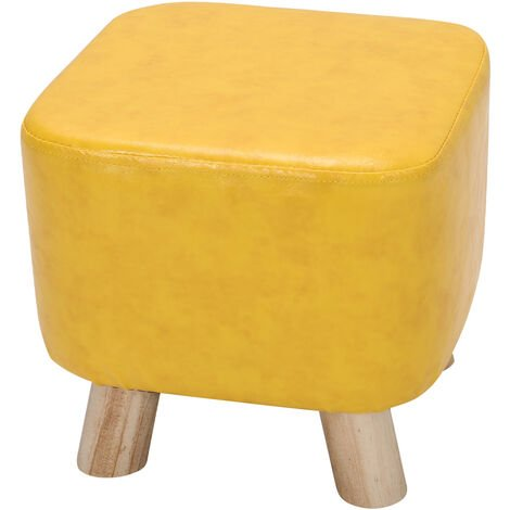 PU Leather Square Padded Footstool Footrest Stool Kids Children Seat Chair Home