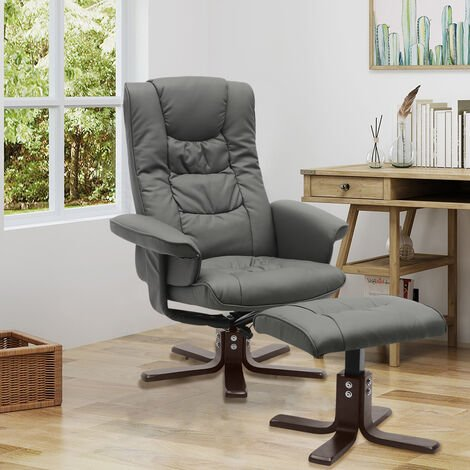 PU Leather Swivel Reclining Office Armchair with Footstool
