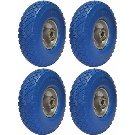 PU Rad 260x75mm 4 Reifen PU-Schaum blau Schubkarre Sackkarre Reifen Rad 3.00-4 auf Stahlfelge 100kg