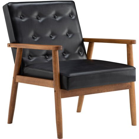 PU Retro Solid Wooden Frame Upholstered Tufted Armchair Button Accent Chair Sofa-Different colors