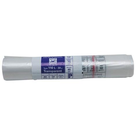 PUBLI EMBAL - Sac poubelle transparent - 110 L - 30 microns - x25