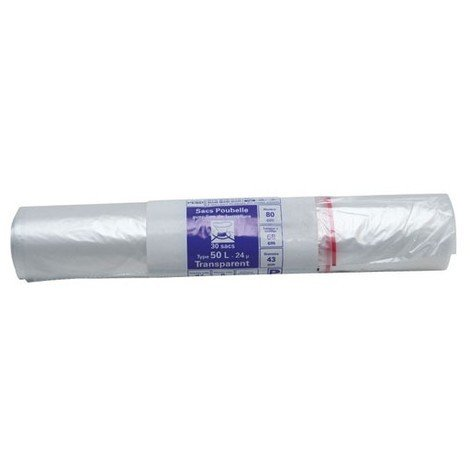PUBLI EMBAL - Sac poubelle transparent - 50 L - 24 microns - x30