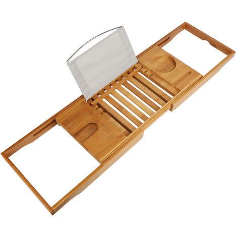 Puente de baño extensible Soporte de bañera de bambú Soporte para computadora portátil Jabón de vidrio y gel de ducha