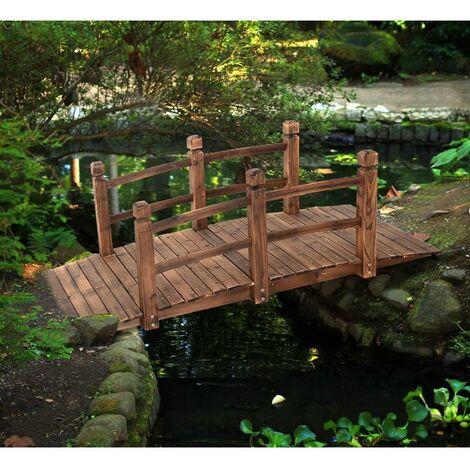 Puente de Jardín Madera para Estanque Jardín Hogar Decorativo con Barandilla 150x67x55 cm