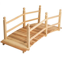 Puente de madera para jardín 140cm largo - puente decorativo para exterior, puente de tablones de madera de pino curvo elegante, mueble para patio para estanques - marrón