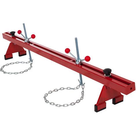 Puente para motores - hasta 500 kg - soporte para elevar motores, soporte de acero para trabajar con motores de automóvil, puente para sujetar motores de coche - rojo