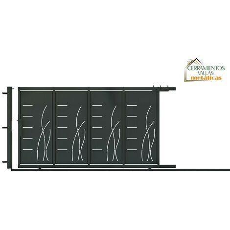 Puerta Corredera Con Peatonal Integrada 3.5x2 - Modelo Almería Negro