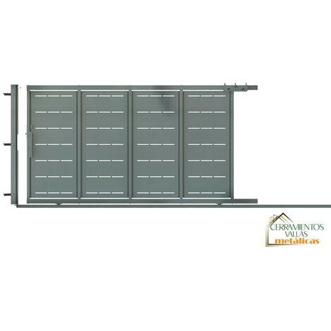 Puerta Corredera Con Peatonal Integrada 3.5x2 - Modelo Valencia Granate