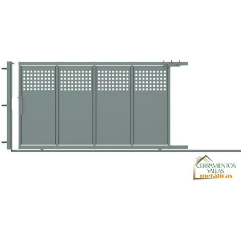 Puerta Corredera Con Peatonal Integrada 4x2 - Modelo Madrid Norte Granate